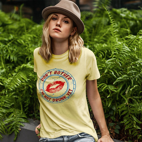 """cute blonde wearing """"DON'T BOTHER"""" t-shirt by David Richard."""