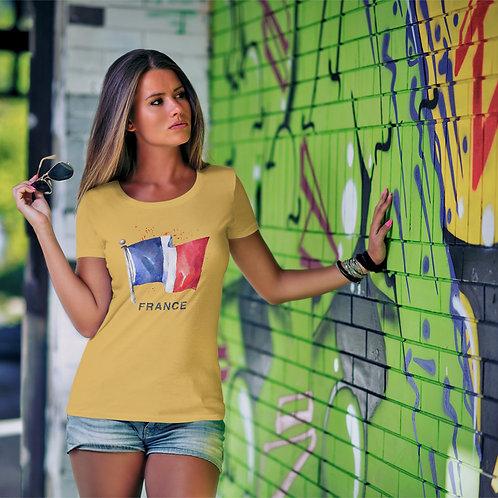 cute girl wearing French flag t-shirt by David Richard.