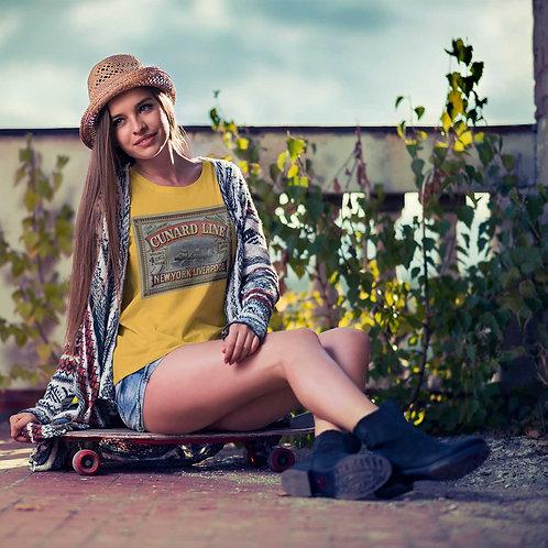 "cute girl wearing ""cunard line"" t-shirt by David Richard."