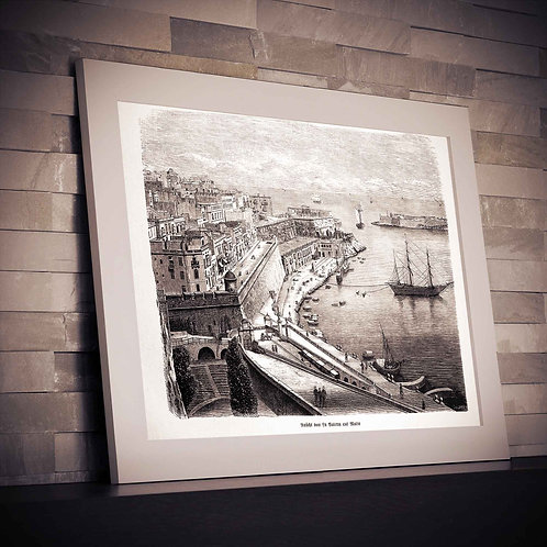 framed vintage malta harbor poster by David Richard designs.
