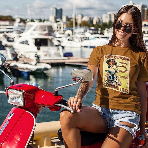 """cute girl wearing """"French liqueur"""" t-shirt by David Richard."""