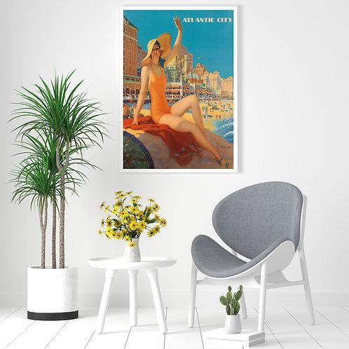 framed vintage Atlantic City poster by David Richard designs.