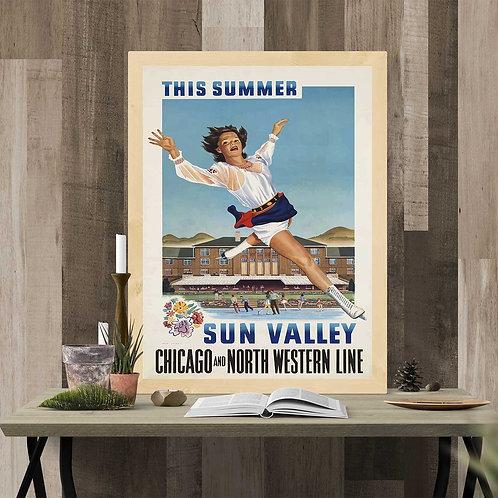 framed vintage sun valley poster by David Richard designs