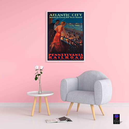 framed vintage Atlantic City poster by David Richard designs.