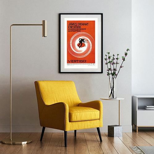 framed vintage vertigo movie poster by David Richard designs.
