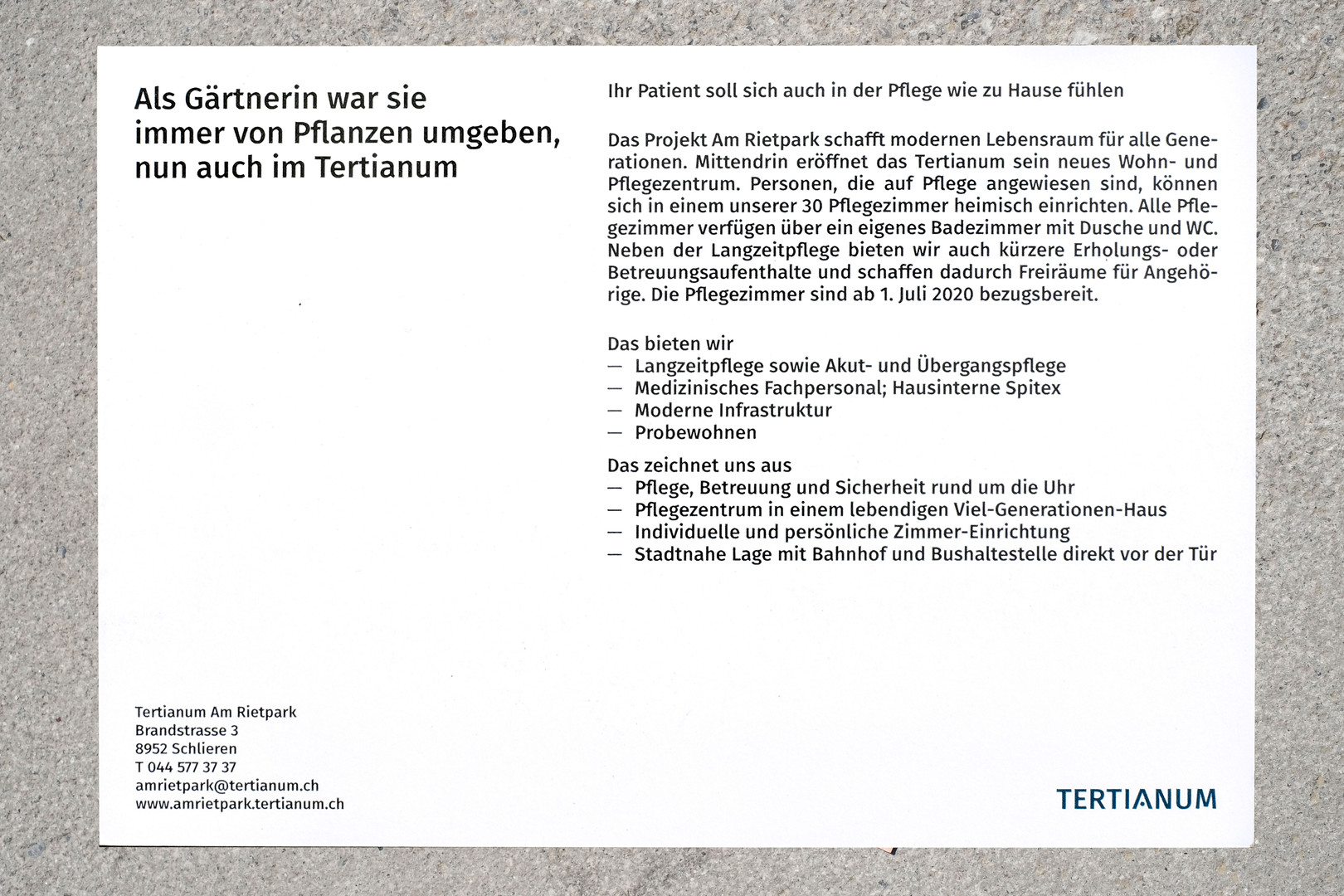 """Tertianum Flyer """"Gärtnerin"""""""