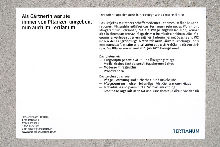 "Tertianum Flyer ""Gärtnerin"""