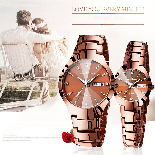 Couple Watch Luxury Gold Waterproof Original Stainless Steel Quartz Wristwatch