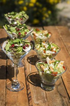 Salads in martini glasses