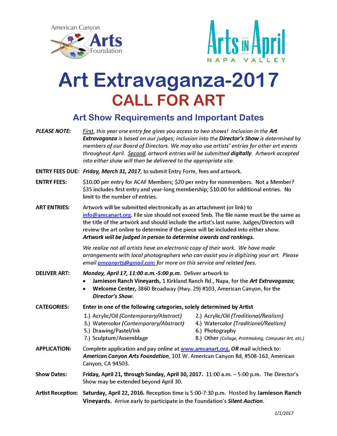 Call For Art:  2017 Art Extravaganza