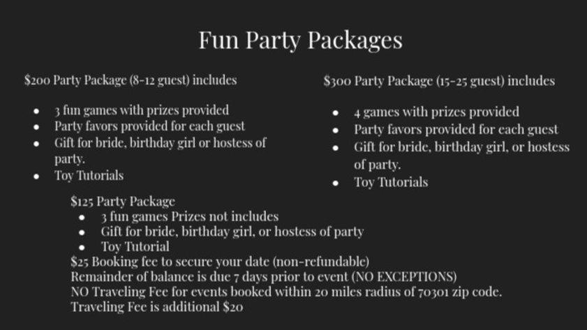 Fun Party Package Deposit
