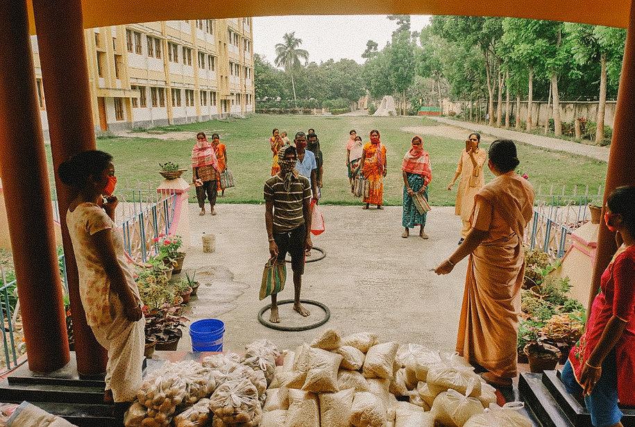 A food bank established on the grounds o