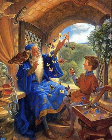 Wizard spending time with the kids.png