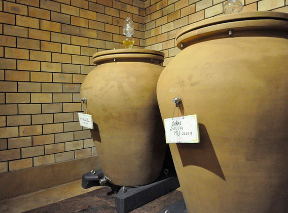 Amphora imported from Italy at Grover Zampa's barrel room