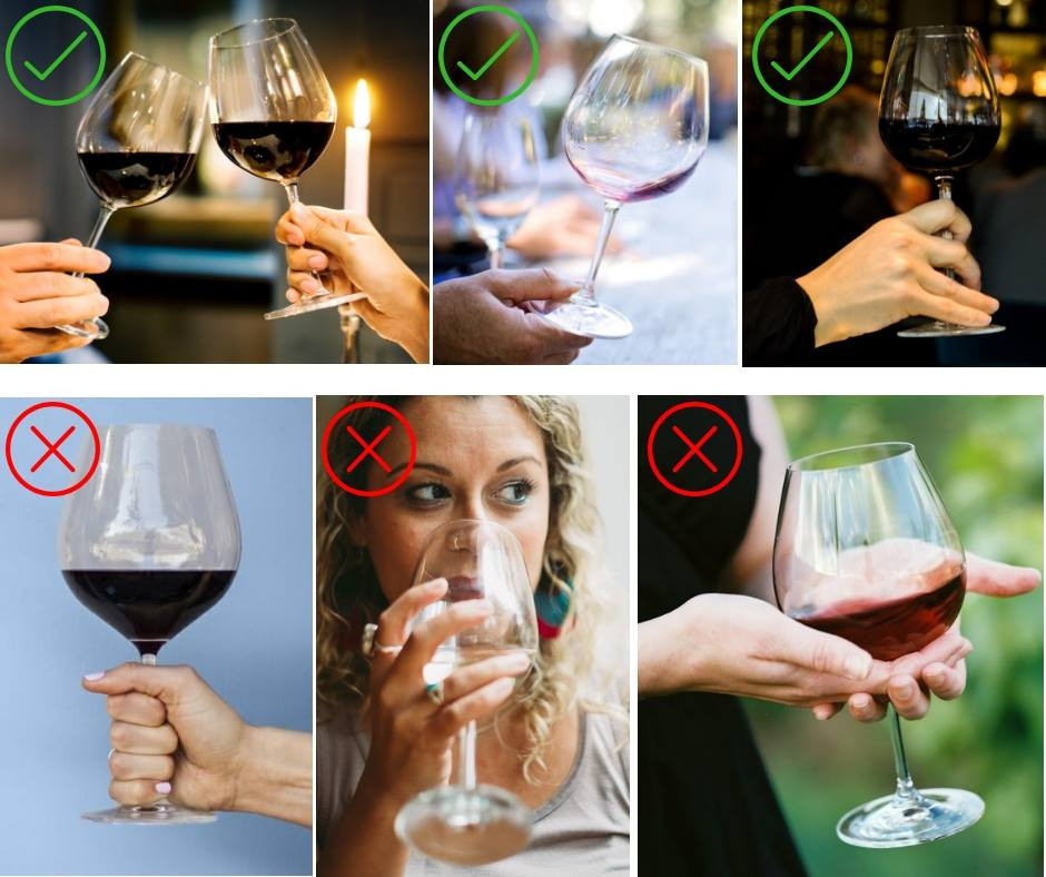 right and wrong ways to hold a wine glass