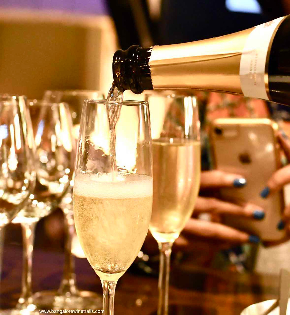Sparkling wine served at a Bangalore Wine Trails Dinner