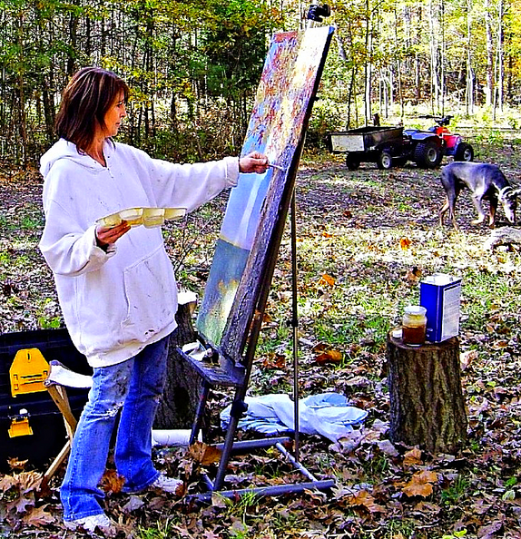 "Painting ""Sunset Oak"" in an old Oak grove in Indiana countryside"