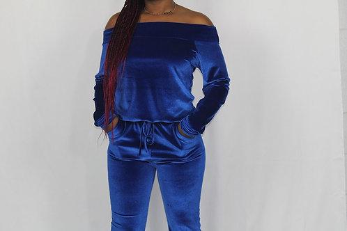 Open Shoulder Velvet Jumpsuit