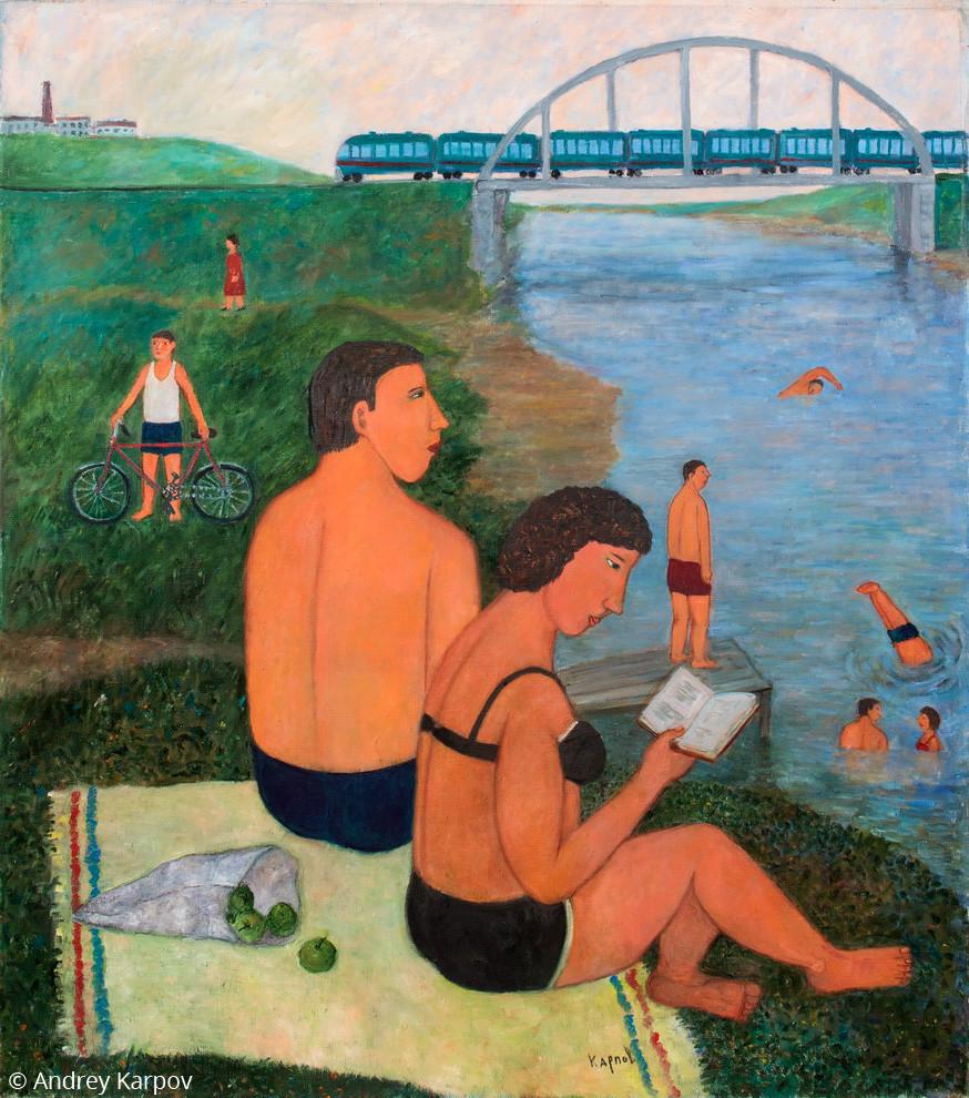 Андрей Карпов. Купание у моста
