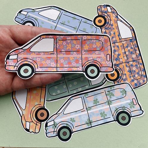 Floral campervan paper stickers
