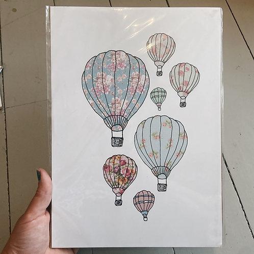 A4 hot air balloon print.