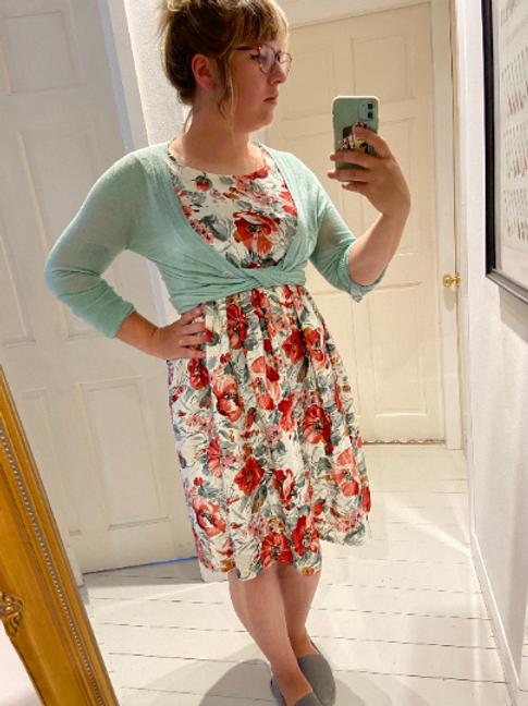 Beautiful Handmade Summer Dress Vintage Reworked Upcycled Fabric