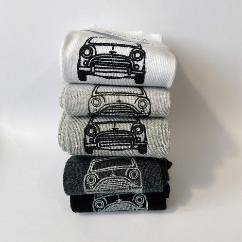 CopyLadies Silk Screen Printed monochrome Mini Cooper Socks in 5 colours