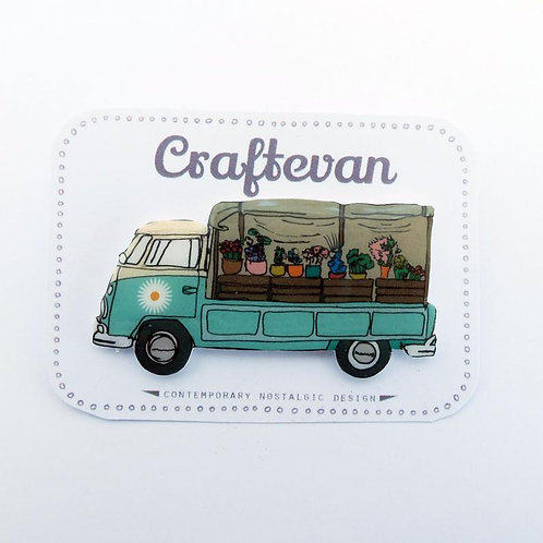 Little Business Brooch, The Flower Shop, VW Campervan, Pickup