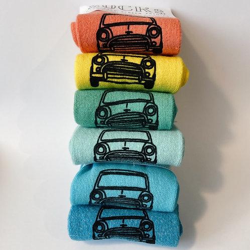 Ladies Silk Screen Printed Mini Cooper Socks in 6 colours
