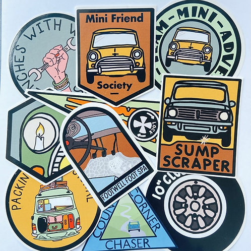 Classic Mini Scout Stickers, Vinyl Waterproof!
