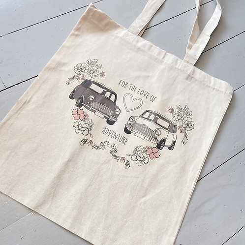 For the love of adventure printed tote bag