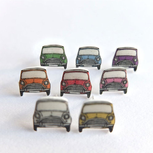 Classic Mini Cooper Stud Earrings in 8 Colours