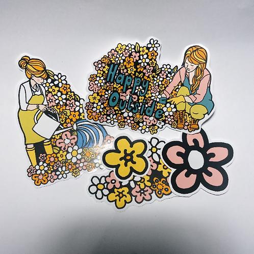 Gardening Retro Sticker Pack