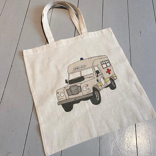Landy series ambulance printed tote bag