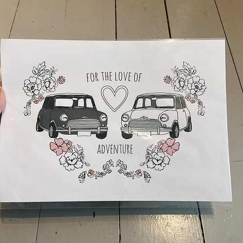 A4 for the love of adventure print.