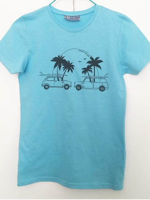 Blue Classic mini surf beach print T-shirt women