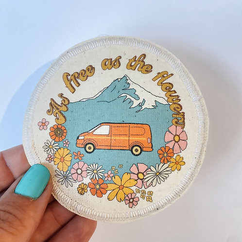 Modern Camper patch as free as the flowers team orange