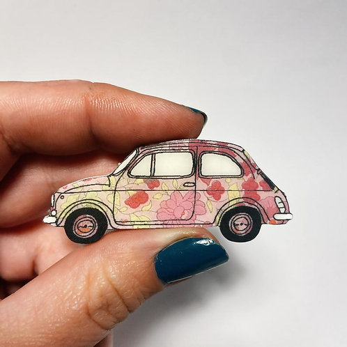 Vintage Fiat 500 Hand Drawn Brooch in 5 Floral Colours