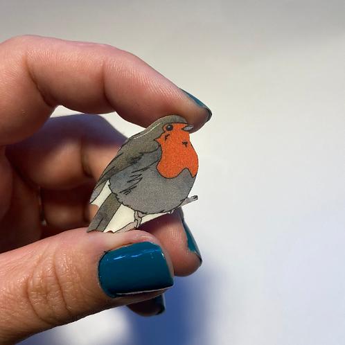 Hand Drawn Plastic Robin Brooch