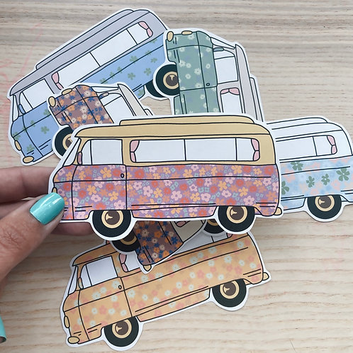 Floral classic Commer campervan paper stickers
