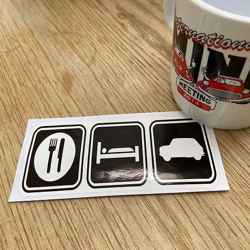 Eat, Sleep, Mini Sticker