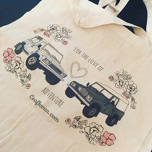 For The Love of Adventure Landrover 4x4 series tote bag