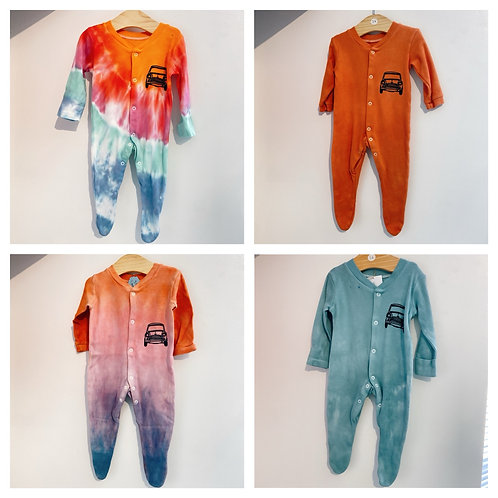 Tie dyed classic mini baby grow/sleep suit 3-6 months