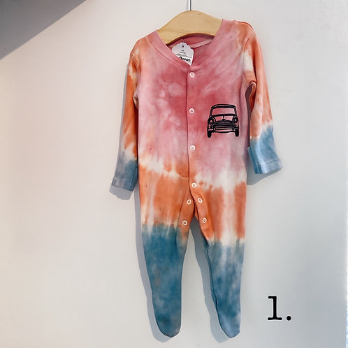 Tie dyed classic mini baby grow/sleep suit 0-3 months
