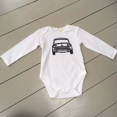 classic mini screen printed white baby grow/body suit