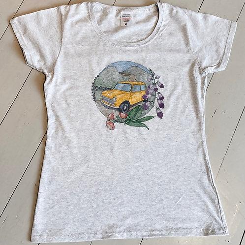 Classic Mini Wild Flower Print ladies T-shirt grey