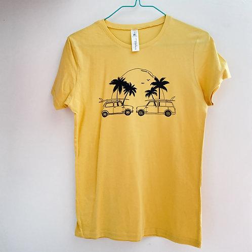Yellow Classic mini surf beach print T-shirt women