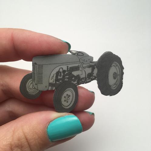 Grey Fergie Tractor Brooch (Ferguson TE20) Hand Drawn