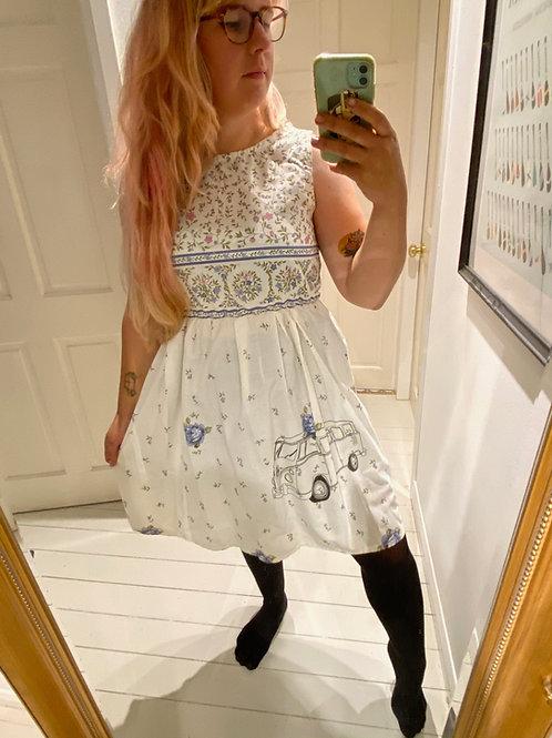 Camper van Printed Vintage Fabric Summer Dress