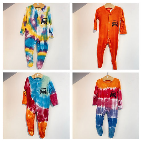 Tie dyed classic mini baby grow/sleep suit 6-9 months